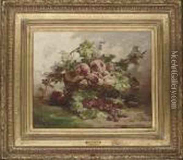 A Basket Of Peaches By Raspberries On A Mossy Bank Oil Painting - Georges Jeannin
