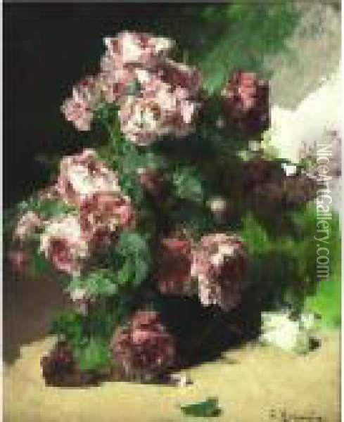 Bouquet Of Roses Oil Painting - Georges Jeannin