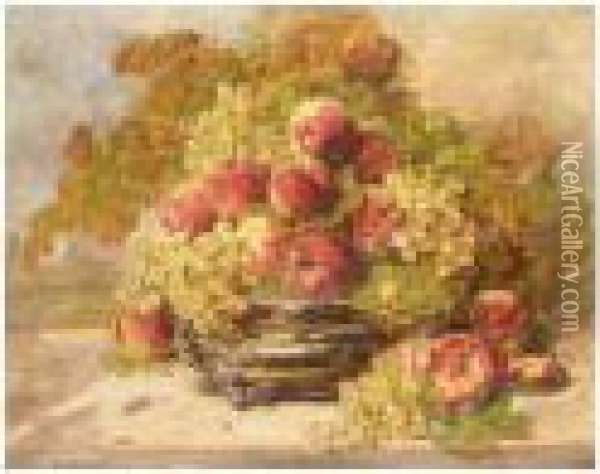 Still Life Of Peaches And Grapes Oil Painting - Georges Jeannin