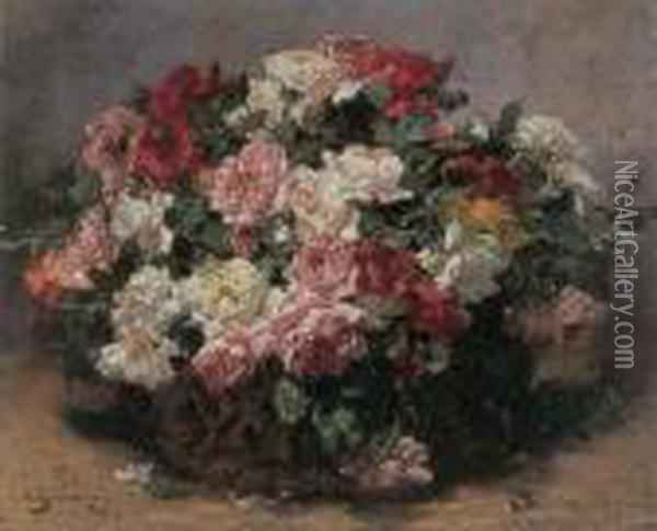 Basket Of Roses Oil Painting - Georges Jeannin