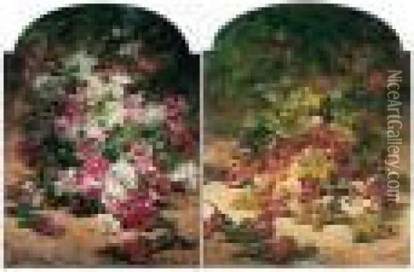 (i) Nature Morte Aux Roses Oil Painting - Georges Jeannin