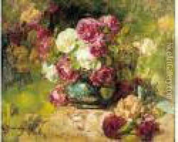 Corbeille De Roses Anciennes Oil Painting - Georges Jeannin