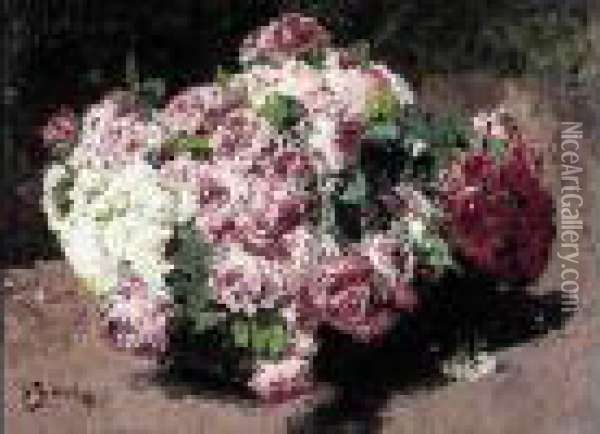 Bouquet De Roses Oil Painting - Georges Jeannin