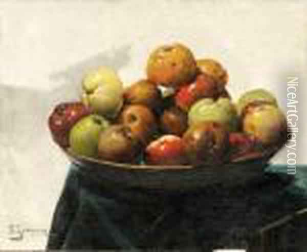 A Bowl Of Apples Oil Painting - Georges Jeannin