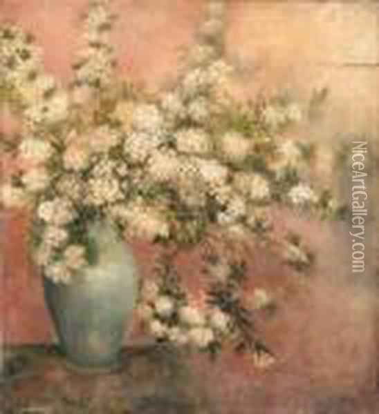 Cherry Blossoms In A Vase Oil Painting - Georges Jeannin