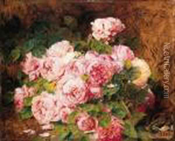 Still Life With Flowers Oil Painting - Georges Jeannin