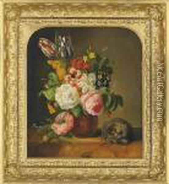 Still Life With Roses And Tulips Oil Painting - Johan Laurentz Jensen
