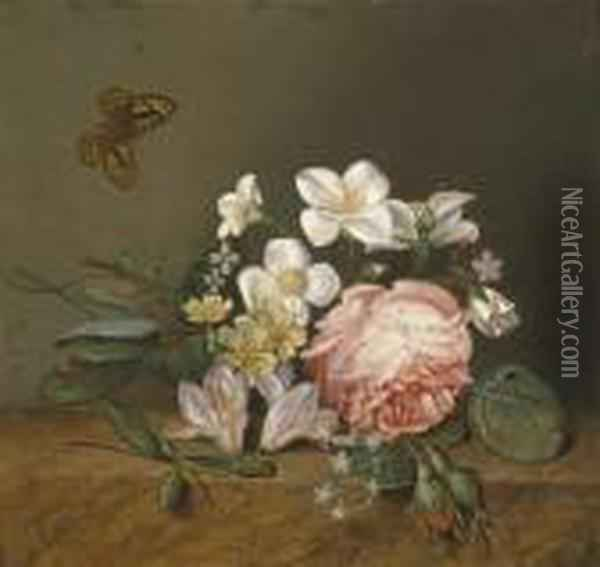 Bouquet Of Roses And Butterfly Oil Painting - Johan Laurentz Jensen