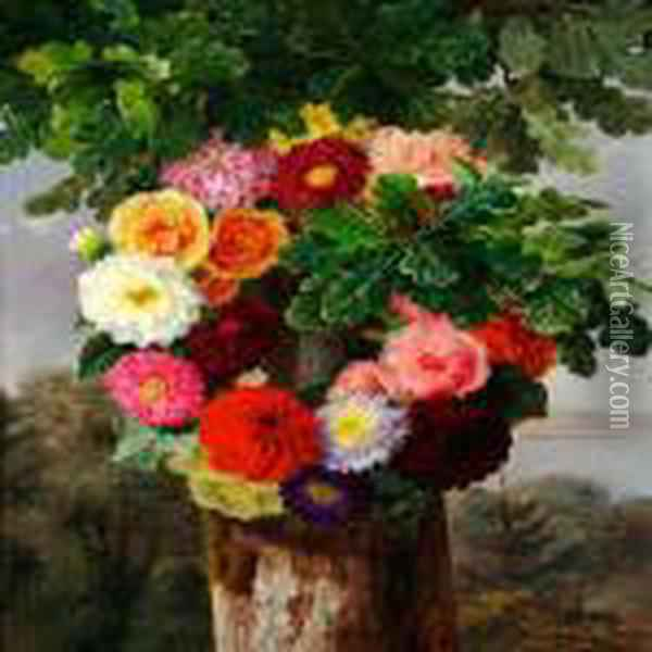 Wreath Of Dahlias On An Oak Oil Painting - Johan Laurentz Jensen