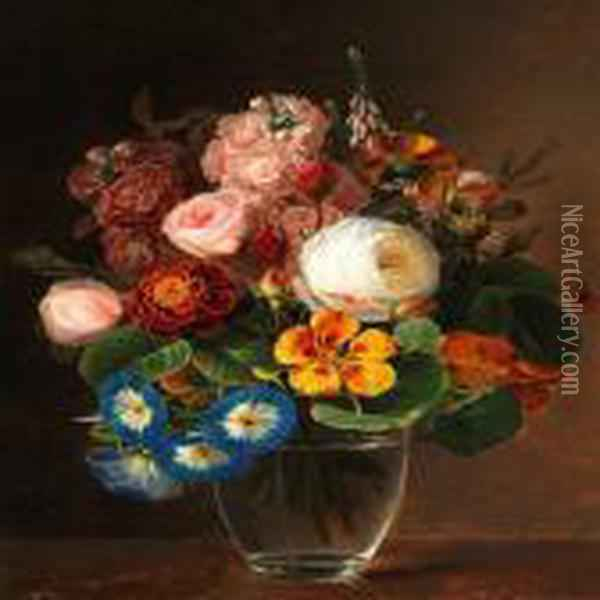 A Bunch Of Colourful Flowers In A Vase Oil Painting - Johan Laurentz Jensen