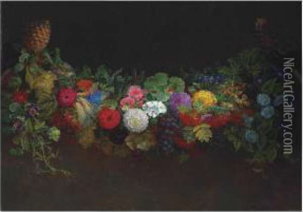 A Magnificent Garland Of Fruit And Flowers Oil Painting - Johan Laurentz Jensen