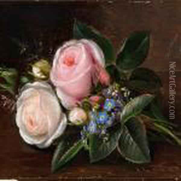 A Bunch Of Roses And Forget-me-nots On A Sill Oil Painting - Johan Laurentz Jensen