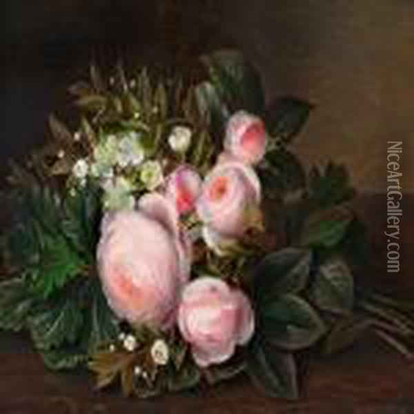 Pink Roses And Myrtle On A Sill Oil Painting - Johan Laurentz Jensen