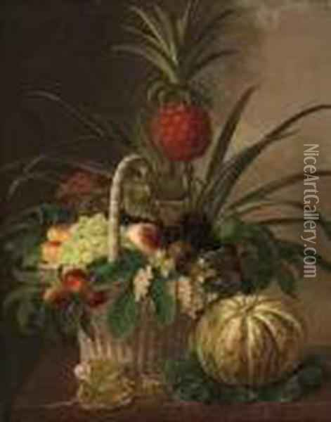 Pineapple, Grapes, Peaches, Nuts, And Berries In A Basket, On Amarble Ledge Oil Painting - Johan Laurentz Jensen