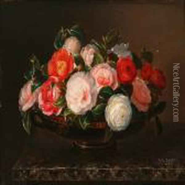 Roses In A Greek Bowlon A Marble Table Oil Painting - Johan Laurentz Jensen