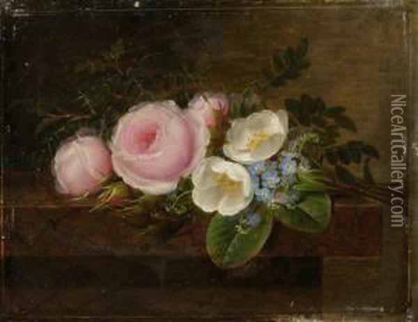 Still Life Of Flowers With Hellebore And Forget-me-nots Oil Painting - Johan Laurentz Jensen