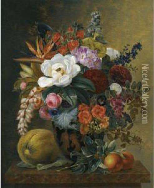 Exotic Blooms In A Grecian Krater With Fruit On A Marble Ledge Oil Painting - Johan Laurentz Jensen