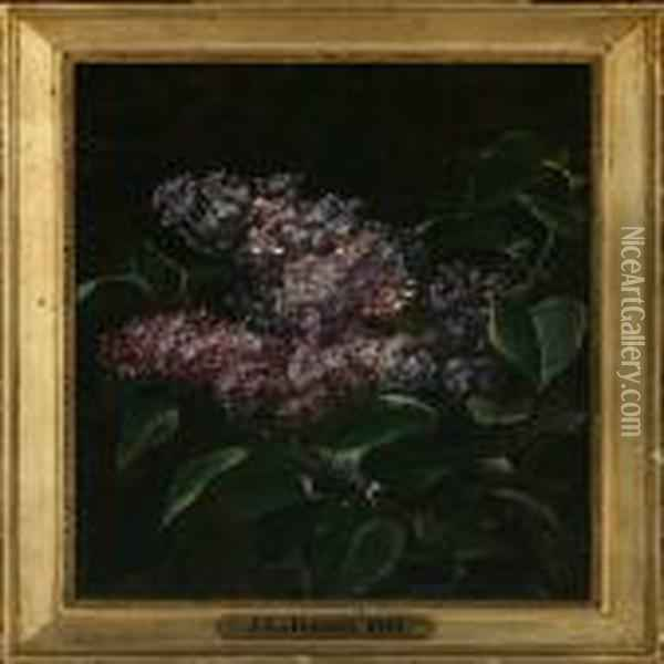 Purple Lilacs Oil Painting - Johan Laurentz Jensen