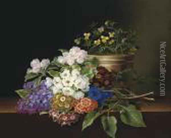 Lilac, Apple Blossom, Cornflowers And Sweet Williams With A Pot Of Violas On A Ledge Oil Painting - Johan Laurentz Jensen