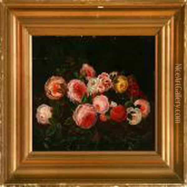 Garland Of Roses Oil Painting - Johan Laurentz Jensen