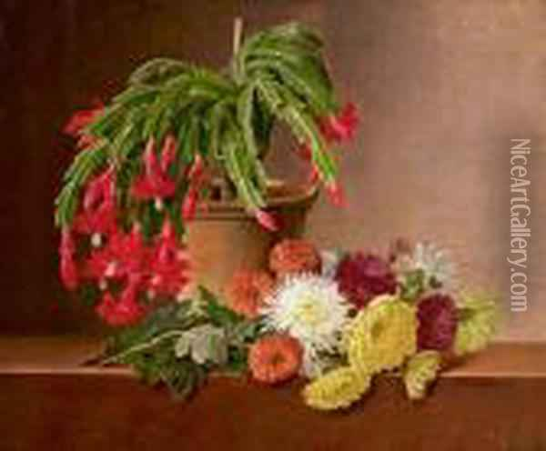 Still Life, Flowers And A Potted Plant On A Stone Top. Signed I. L. Jensen 1831 Oil Painting - Johan Laurentz Jensen