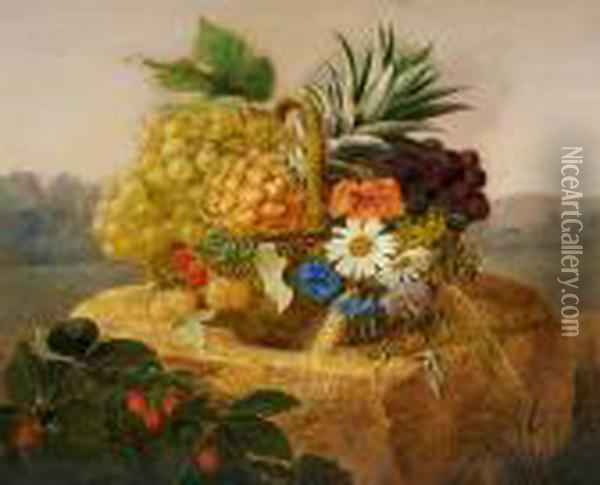 A Basket With Grapes, Pineapple And Wild Flowers On A Stone Oil Painting - Johan Laurentz Jensen