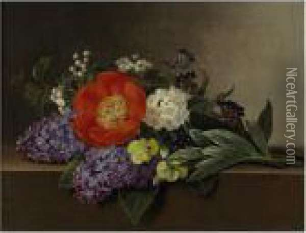 Lilacs, Violets, Pansies, Hawthorn Cuttings, And Peonies On A Marble Ledge Oil Painting - Johan Laurentz Jensen