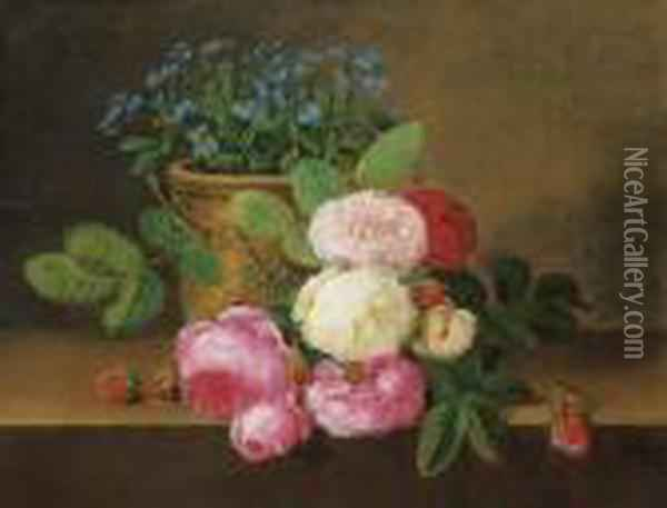 Potted Forget-me-nots, With Red, Pink And White Roses On A Ledge Oil Painting - Johan Laurentz Jensen