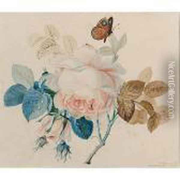 A Butterfly On A Rose Oil Painting - Johan Laurentz Jensen