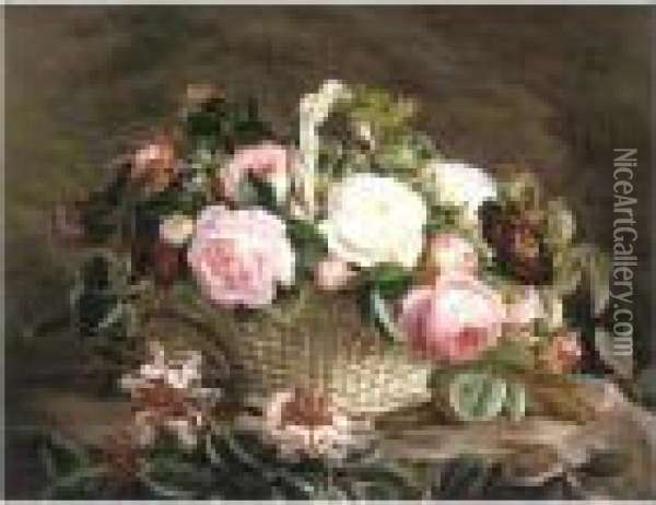 A Basket Of Pink And White And Red Roses With Honeysuckle Oil Painting - Johan Laurentz Jensen