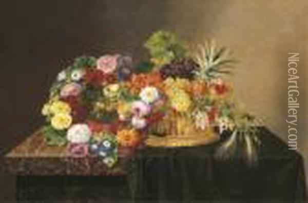 A Wreath Of Roses, Lilies And Peonies And Other Flowers Oil Painting - Johan Laurentz Jensen