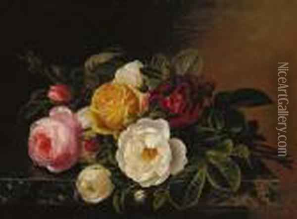 Yellow, Red, Pink And White Roses On A Marble Ledge Oil Painting - Johan Laurentz Jensen