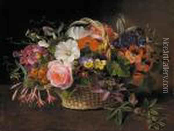 Pansies, Fuschias, Convolvulus, And A Rose And Other Flowers In A Wicker Basket Oil Painting - Johan Laurentz Jensen