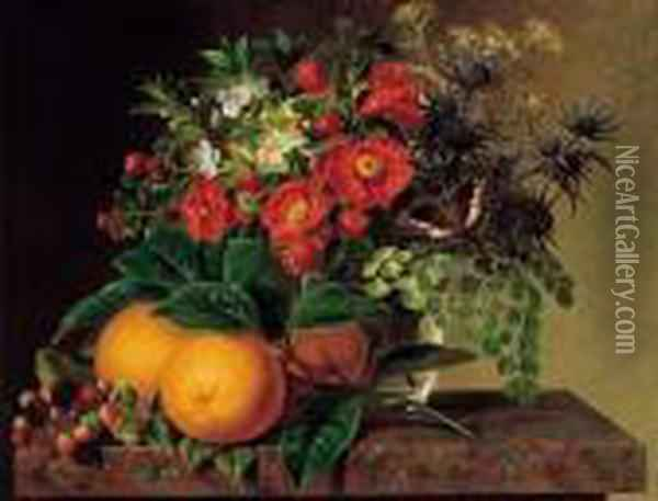 Thistle, Echinops, Myrtle In A  Glass Vase With Oranges, Blackberries And A Butterfly On A Brown Marble  Ledge Oil Painting - Johan Laurentz Jensen