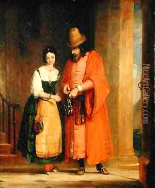 Shylock and Jessica from The Merchant of Venice Oil Painting - Gilbert Stuart Newton