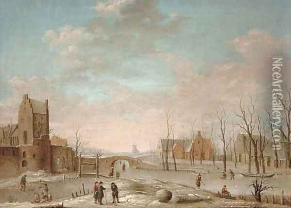 A winter landscape with figures playing kolf on a frozen river, a windmill and walled town beyond Oil Painting - Aert van der Neer