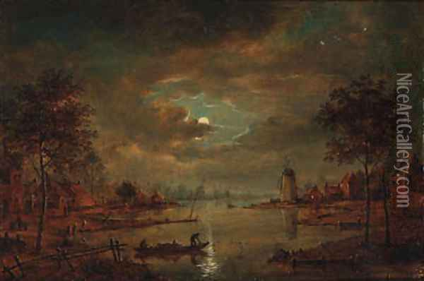 A moonlit river landscape with figures in a boat, a windmill beyond Oil Painting - Aert van der Neer