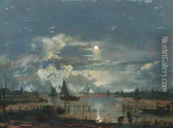 A moonlit riverlandscape, with shipping and fishermen on the shore inspecting their nets and lobsterpots Oil Painting - Aert van der Neer