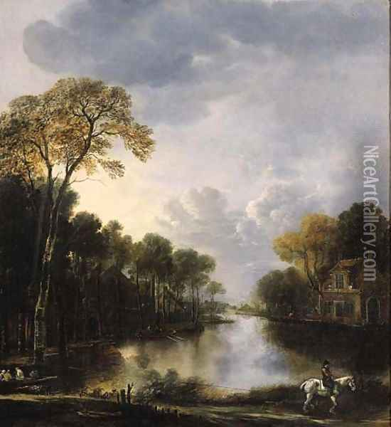 A river landscape at night with a ferry pulled on a rope by a rider in the foreground Oil Painting - Aert van der Neer