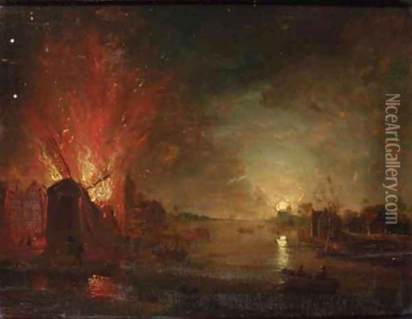 A mill on fire on a riverbank, by moonlight Oil Painting - Aert van der Neer