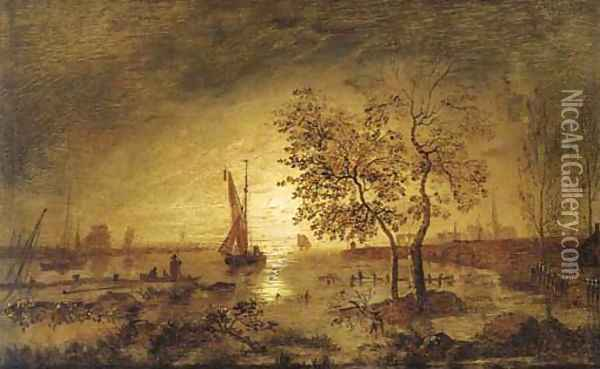 A moonlit estuary with fishing boats and a town beyond Oil Painting - Aert van der Neer