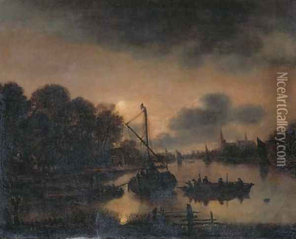 A moonlit landscape with moored vessels on a river, a village with a church beyond Oil Painting - Aert van der Neer