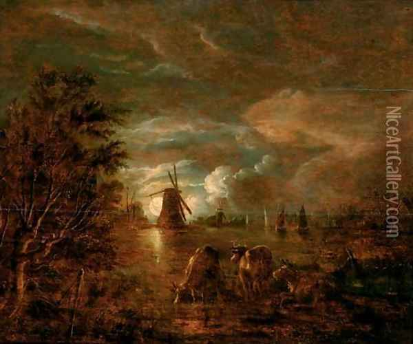 A moonlit river landscape with cows in the foreground, a windmill beyond Oil Painting - Aert van der Neer