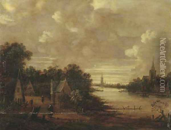 A moonlit river landscape with figures on a track, a church in the distance Oil Painting - Aert van der Neer