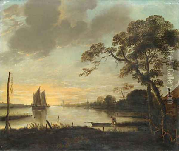 A River Landscape at Dusk with a Fisherman and a Rowing Boat, sailing boats beyond Oil Painting - Aert van der Neer
