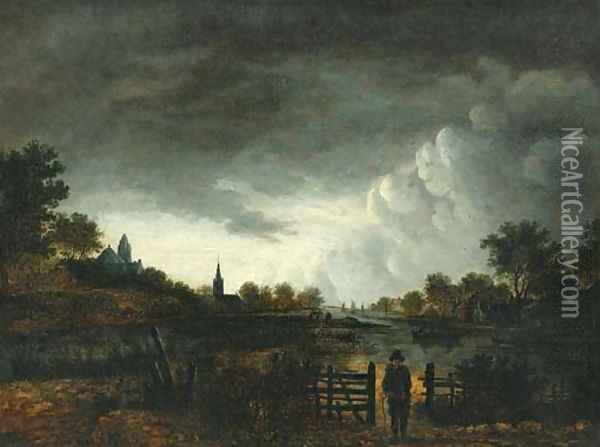 A river landscape at sunset with a peasant by a gate Oil Painting - Aert van der Neer