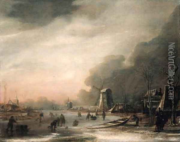 A Winter Landscape with Skaters and Kolf Players Oil Painting - Aert van der Neer