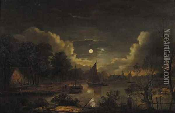 Fishermen sailing on a river by a village at night Oil Painting - Aert van der Neer