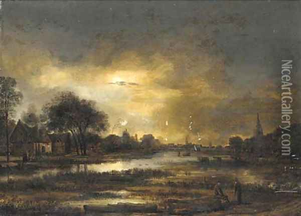 A moonlit landscape with two peasants conversing near a lake in the foreground Oil Painting - Aert van der Neer