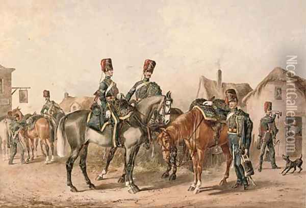 A detachment of the 8th Royal Hussars departing a country tavern Oil Painting - Orlando Norie